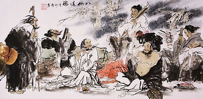 ORIGINAL ASIAN ART CHINESE FAMOUS FIGURE WATERCOLOR PAINTING-Eight Immortals