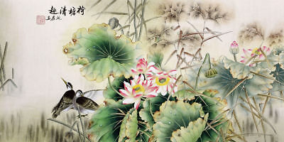 ORIGINAL ASIAN ART CHINESE FAMOUS WATERCOLOR PAINTING-Birds lover&Lotus flowers