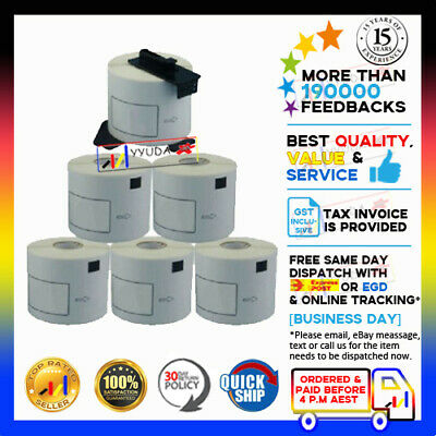 5+1 ROLL BK White DK22205 DK 22205 Brother Generic Continuous Label 62mmx30.48