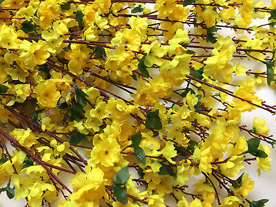12 Pack 50 Long Stem Artificial Realistic Silk Yellow Cherry