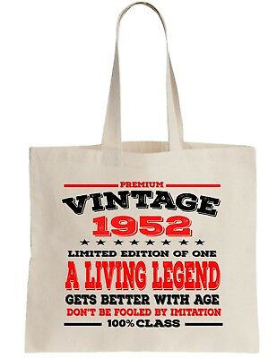 66th Birthday Gift Cotton Tote Shopper Shopping Bag year can be amended 1952