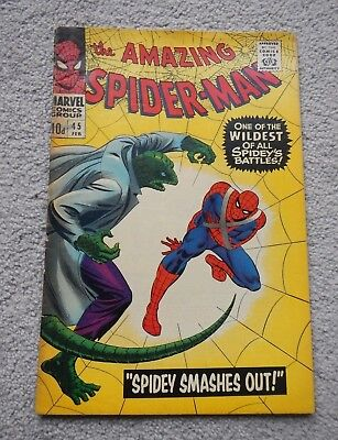 ORIG MARVEL AMAZING SPIDER-MAN No. 45 PUBLISHED FEB1967 ~ 3RD APPEARENCE LIZARD