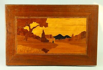 ! 1920's ART DECO Inlaid Wood Marquetry Panel Plaque - Landscape Scene