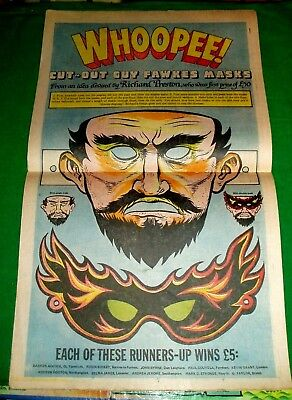 GUY FAWKES CUT OUT MASK STILL INTACT IN FULL COMIC IN STUNNING COLOUR 1980 18x11