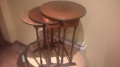 Antique nest 3 Mahogany tables 1890-1910 with round tops and Bamboo style legs