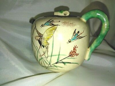 Fabulous Exquisite Old Chinese Hand Painted Birds Sand Teapot