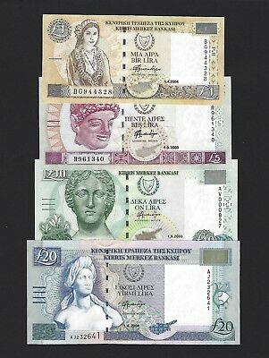2003-2004 Cyprus 1,5,10,20 Pounds, P-60-63, ALL GEM UNC, LAST ISSUE PRE-EURO