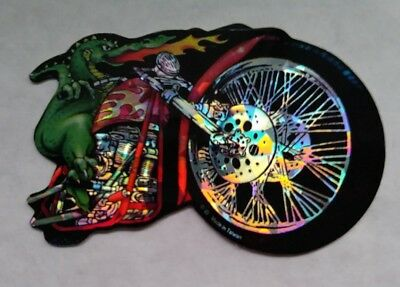 90's Vending Prism Sticker Decal Fire Breathing Dragon Riding on Motorcycle MINT
