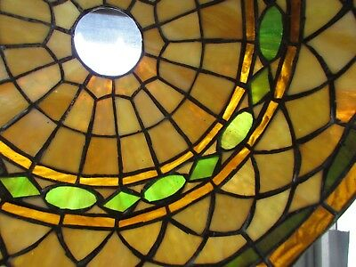Vintage Antique Tiffany Style Stained Glass Lampshade Mission Arts & Crafts 14""
