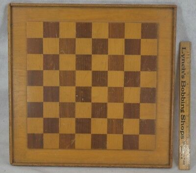 antique game board raised inlay chess checkers wooden hand made 15 in. original