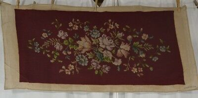 antique needle point cover bench pillow maroon flowers hand made 39 in original