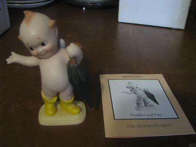 The Franklin Mint PUDDLES AND FUN Bisque Kewpie Doll with Box 1990