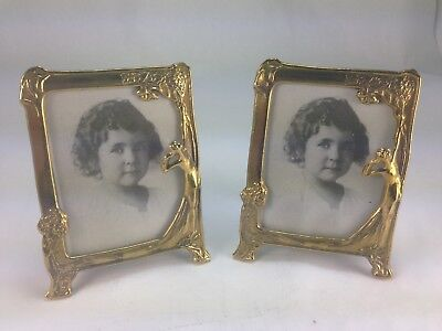 Pair of Vintage Hand Crafted K Nobler Solid Brass Art Deco Picture Frames Italy