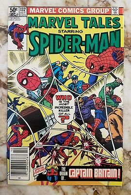 Marvel Tales #132 Vf/nm Captain Britian 1 Reps Amazing Spider-Man 155 Comic