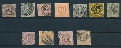 Thurn & Taxis (GERMAN STATES) 11  VERY EARLY ISSUES (1852-1865) MH & USED