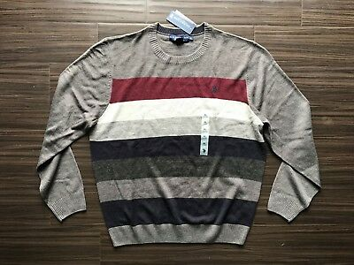 NWT US Polo Assn Granite Heather Maroon Striped Mens Sweater XL MSRP $60