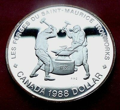 Pr Proof 1988 Canada Silver Dollar Saint Maurice Blacksmith Worker Commemorative