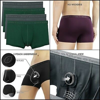 18158ce917 David Archy Men's 4 Pack Underwear Micro Modal Separate Pouches Fly Trunks