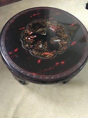 Chinese Tea Table Carved Vintage Lacquer  Black Polychrome Enamel Medallion
