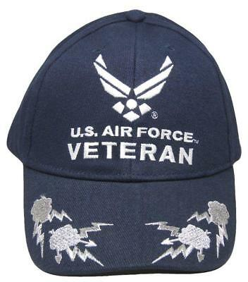 f39ad8f66bc Blue Air Force Veteran Wings Embroidered Black Baseball Cap Hat (EE) CP00412