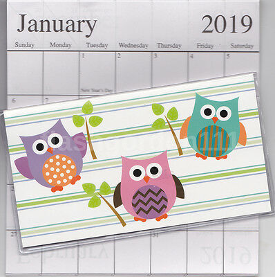 1 - 2018-2019 STRIPED OWL 2 Two Year Planner Monthly Pocket Calendar Datebook