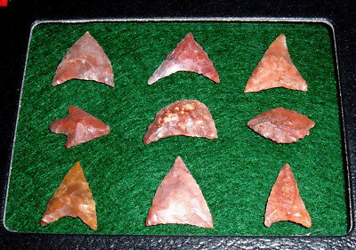 (9) Select Asst. Sahara Neolithic Points W/CASE, Prehistoric African Arrowheads