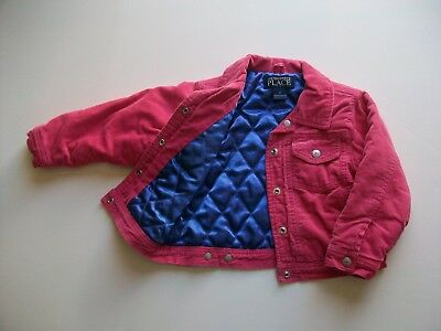 d3335f6a CHILDREN'S PLACE TCP Hot Pink Quilted Corduroy Snap Front Girl's Jacket Sz  4T