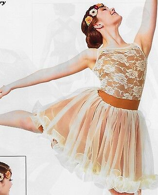 """""""One Sweet Day"""" Ivory Rust Lyrical Contemporary Ballet Dance Dress Costume AMED"""