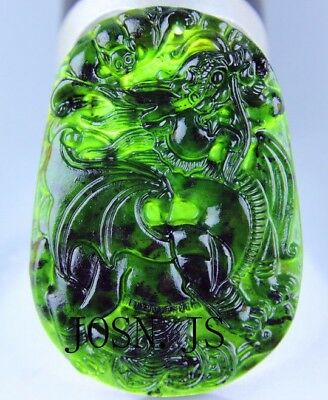Chinese black green jade Jadeite pendant necklace hand-carved dragon unicorn