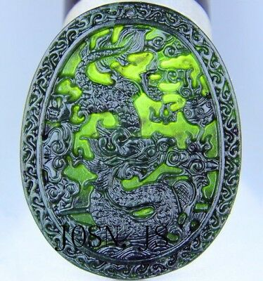 Chinese black green jade Jadeite pendant necklace hand-carved dragon AAA