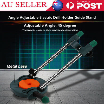 Drill Guide Stand 45° Adjustable Metal Base Electric Drill∅43mm Mobile Swivel AU