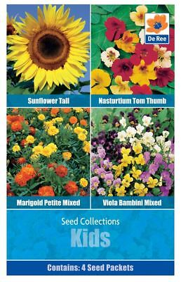 De Ree Marigold Petite Nasturtium Sunflower Kids Fun Collection Seeds 4 in1 Pack