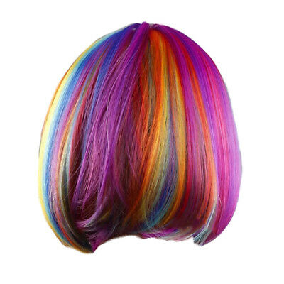 Woman's wig rainbow short striaght BOBO haircut cosplay halloween patry synth DA