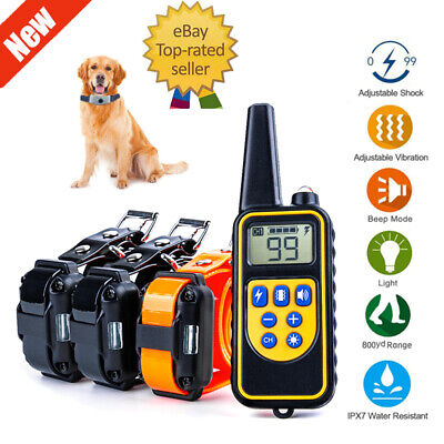 Rechargeable Electric Remote Dog Training Shock Collar 800 Yard Waterproof LCD