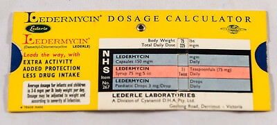 Vintage Ledermycin Medical Dosage Calculator
