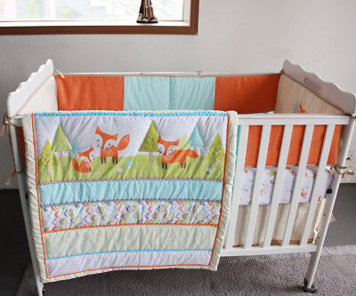 New Baby Girls Boys 7 Pieces Cotton Nursery Bedding Crib Cot Sets