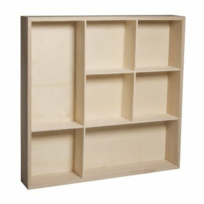 New Collectors Display Cabinet Wall Mounted Wooden Shelves Modern Compartment UK