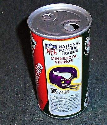 """Vintage 1970's Canada Dry Minnesota Vikings NFL Football Soda """"Double Punch"""" Can"""
