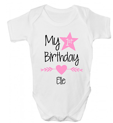 PERSONALISED GIRLS 1st FIRST BIRTHDAY FUNNY BABY GROW BODY VEST SHOWER GIFT