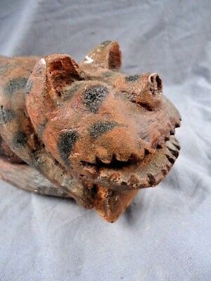 Rare 19Th Century Carved Treen Mythical Cat,probably Used As A Tool,smooth Side