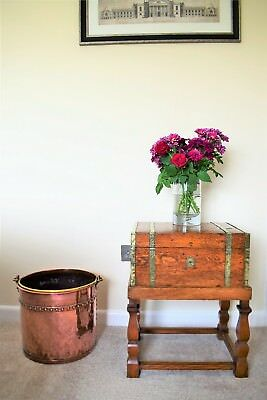 Small Antique Brass Bound Oak Chest On Later Stand