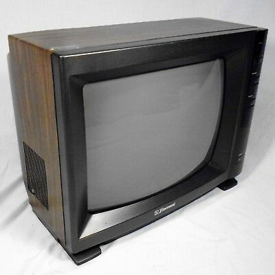 "Vtg Woodgrain TV 1993 Emerson TC1365A Color 13"" Television CRT for Atari Gaming"