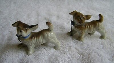 Lot of 2 Vintage Terriers Brown & White Porcelain Made in Japan