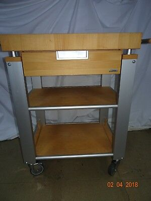 Legnoart Italian Trolley Style Wooden Butchers Block With Drawer And Shelves