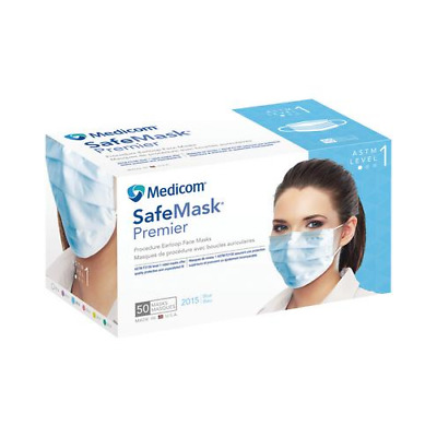 Medicom 2015 SafeMask Premier Earloop Face Masks ASTM Level 1 Blue 50/Bx