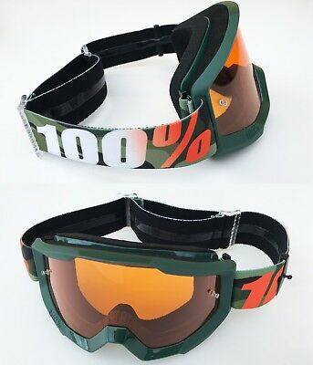 100% PERCENT STRATA MOTOCROSS BIKE GOGGLES HUNTISAN GREEN with ORANGE TINT LENS