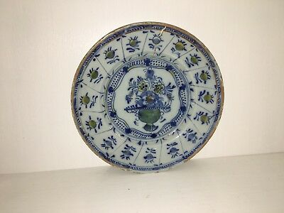 Antique 19th Centrury Delft Plate With Urn Filled With Flowers