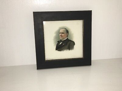 Antique President William McKinley Pottery Tile Political Ca. 1900 A.F. Tile Co.