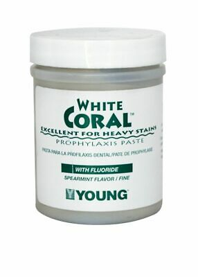 Young Dental 033209 White Coral Prophy Paste with 1.23% Fluoride Mint Coarse 9oz