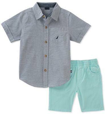 Nautica Infant Boys Woven Shirt 2pc Short Set Size 3/6M 6/9M 12M 18M 24M $50